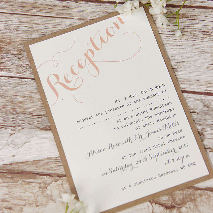 Pink Flower Lace Rustic Wedding Evening Invitation