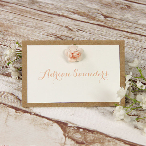 Pink Flower Lace Rustic Wedding Place Card