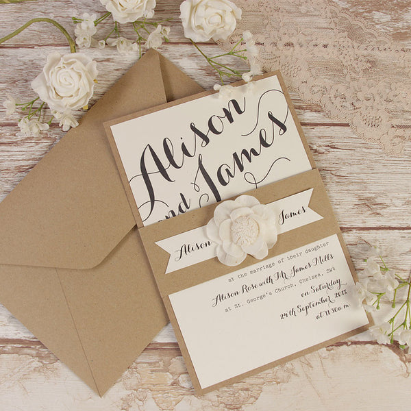 Rustic Flower Wedding Day Invitation