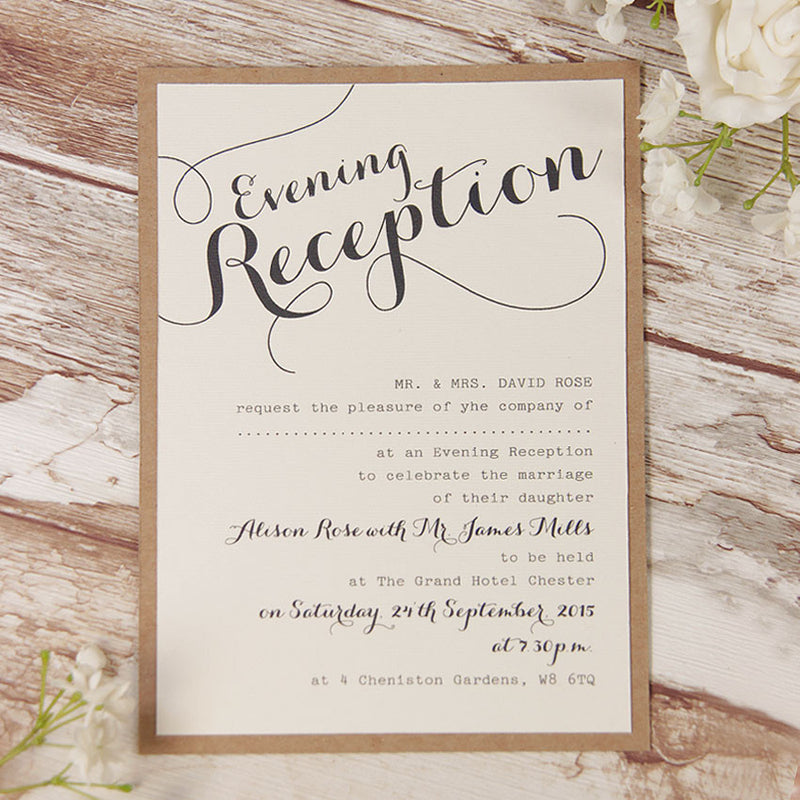 Rustic Flower Wedding Evening Invitation