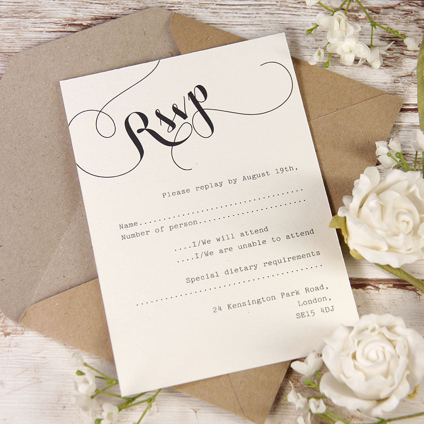Rustic Flower Calligraphy Wedding Reply Card, Rsvp