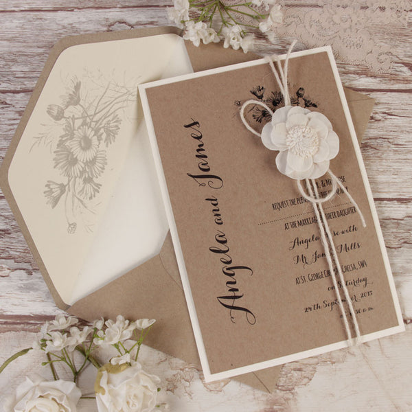Kraft Paper White Flower Rustic Wedding Day Invitation