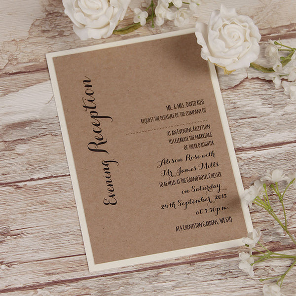 Kraft Paper White Flower Rustic Wedding Evening Invitation