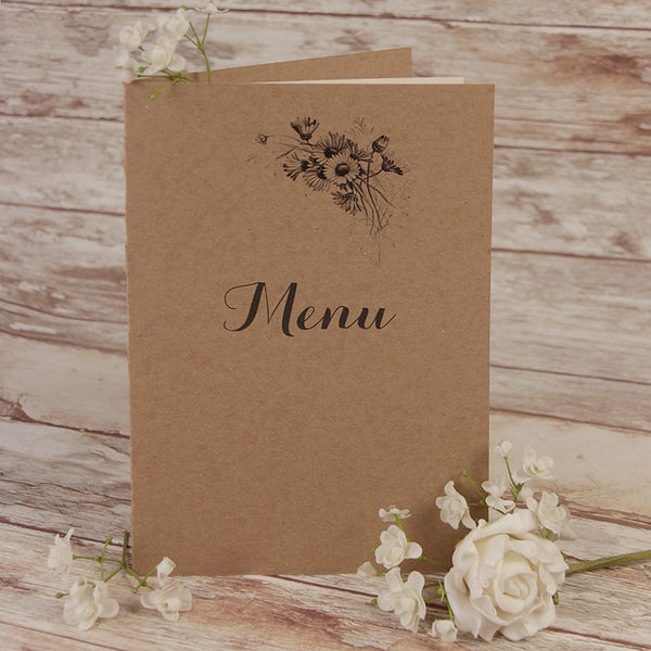 Kraft Paper White Flower Rustic Wedding Order of Service / Menu