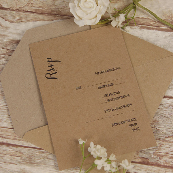 Kraft Paper White Flower Rustic Wedding Reply / Thank You / Save the Date Card