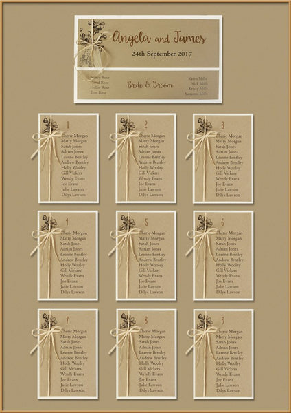 Kraft Paper Rustic Wedding Table Plan Without Board