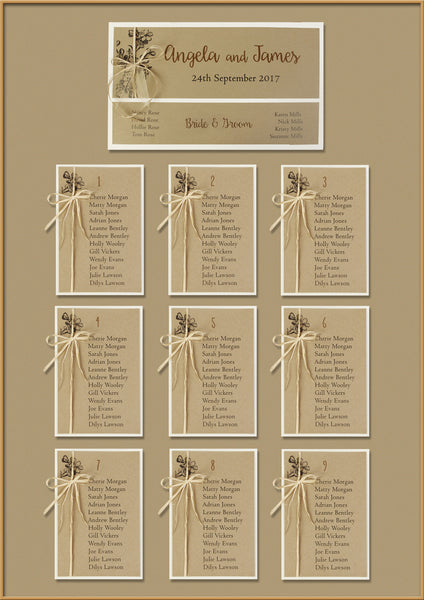 Kraft Paper Rustic Wedding Table Plan
