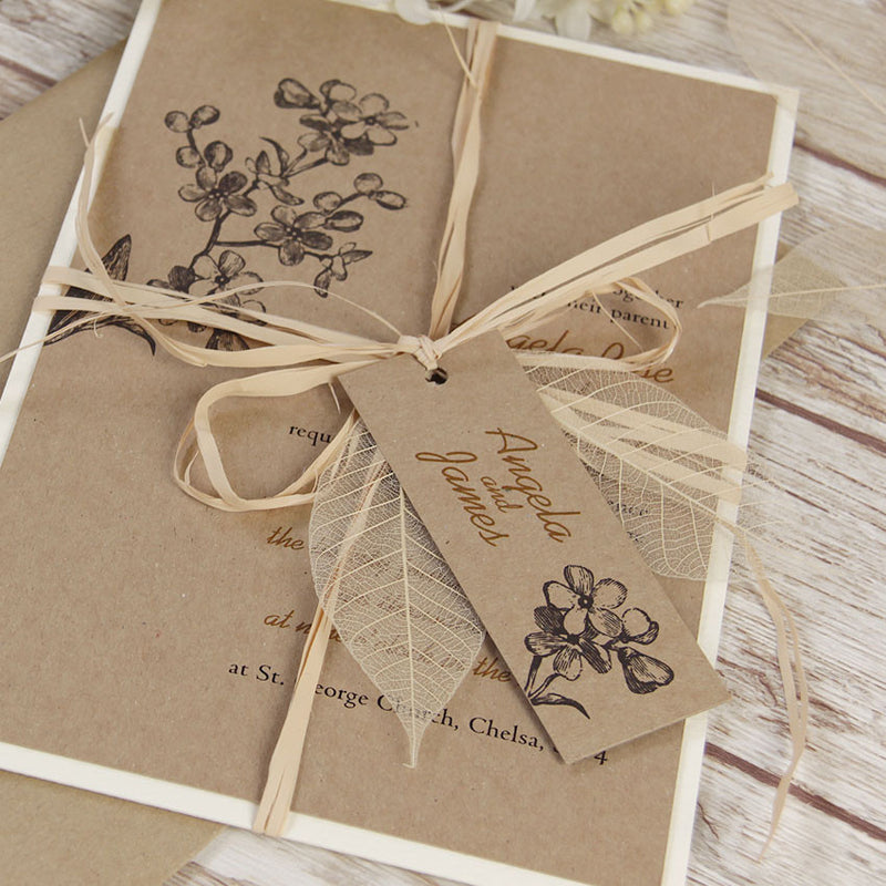 Kraft Paper Rustic Wedding Day Invitation