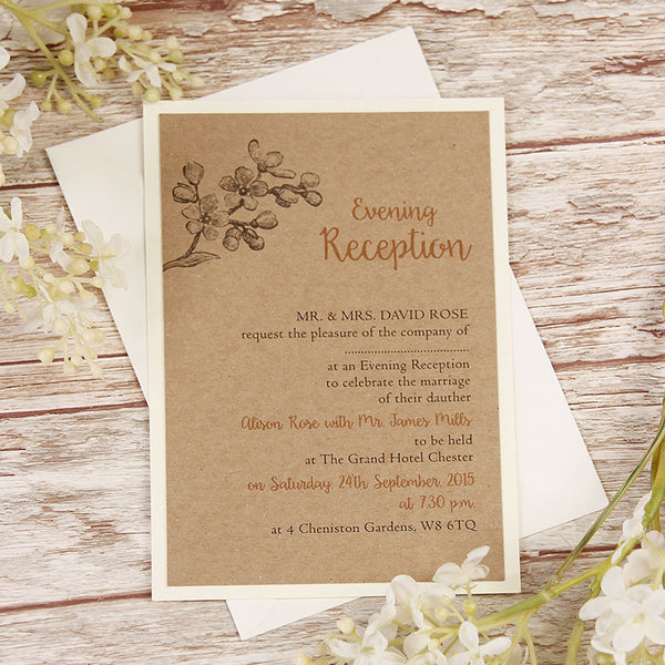 Kraft Paper Rustic Wedding Evening Invitation
