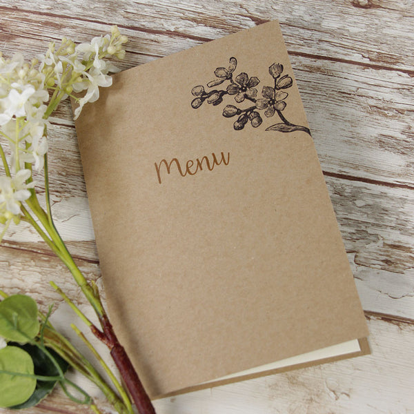 Kraft Paper Rustic Wedding Order of Service / Menu