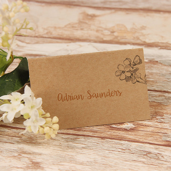 Kraft Paper Rustic Wedding Place Card