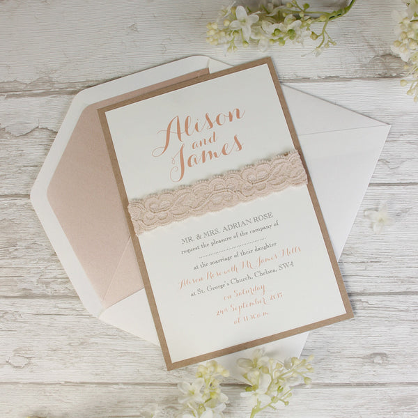 Soft Pink Lace Rustic Wedding Day Invitation