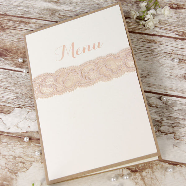 Soft Pink Lace Rustic Wedding Order of Service / Menu