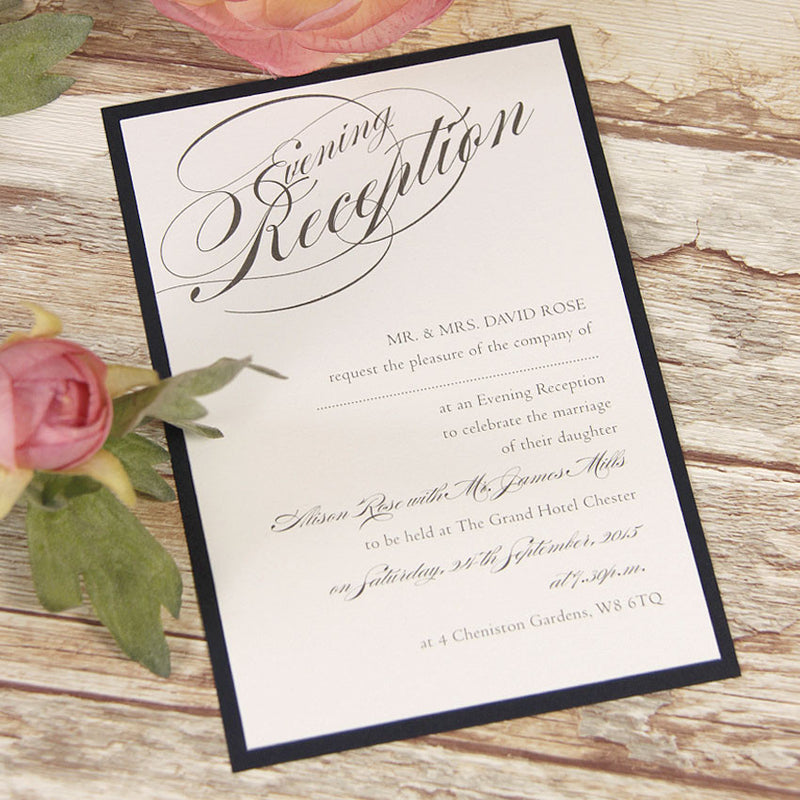 Vintage Navy Blue Lace Rustic Wedding Evening Invitation