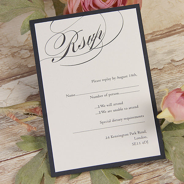 Vintage Navy Blue Lace Rustic Wedding Save the Date / Thank You / Reply Card