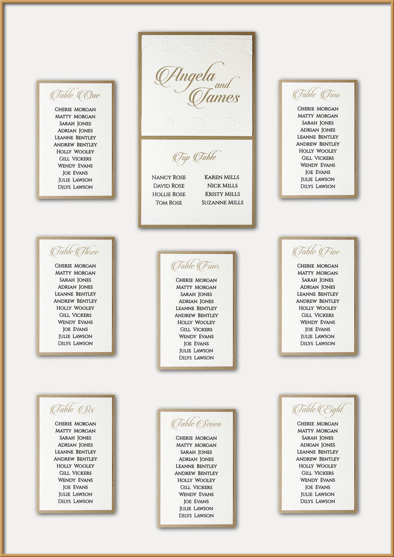 Vintage White Lace and Gold Wedding Table Plan
