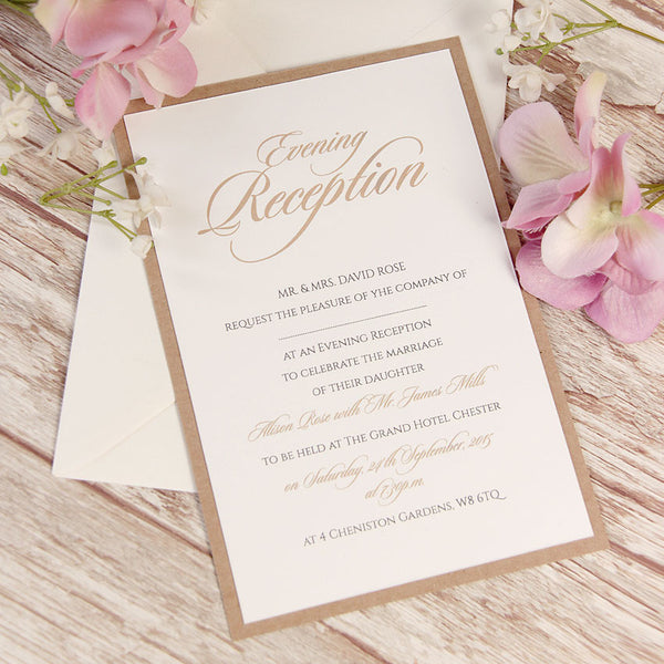 Vintage White Lace Rustic Evening Invitation
