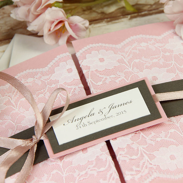 Vintage Lace Blush Pink Gate Fold Rustic Wedding Day Invitation