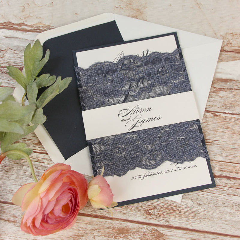 Vintage Luxury Navy Blue Real Lace Rustic Wedding Day Invitation