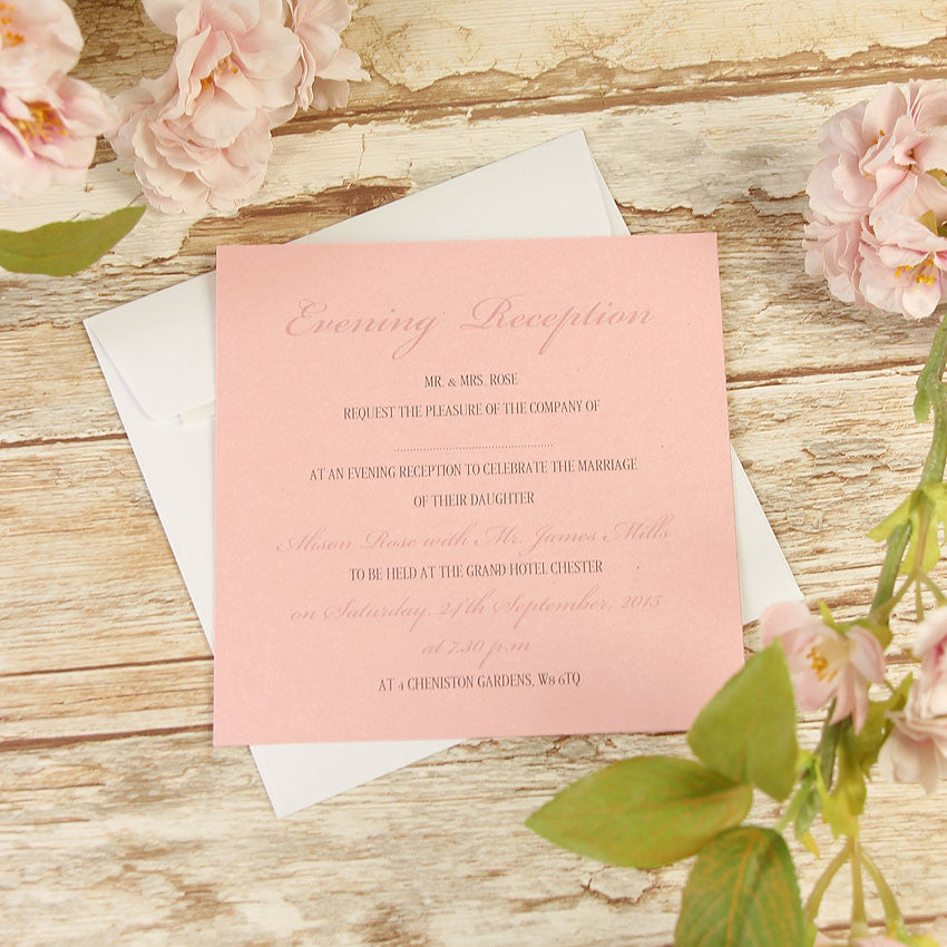 Vintage Lace Blush Pink Rustic Wedding Evening Invitation