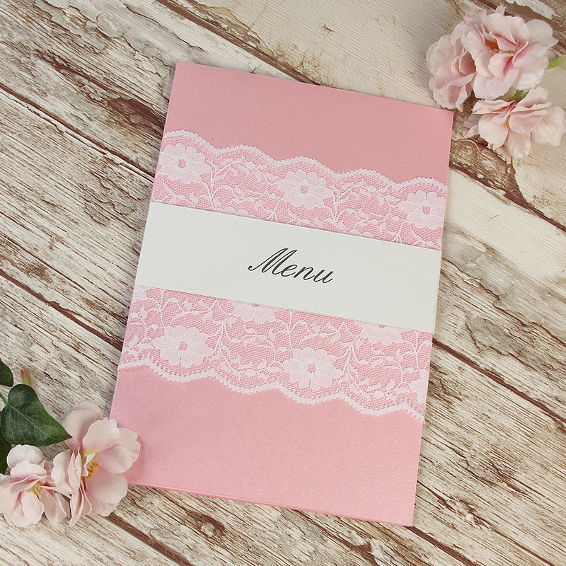 Vintage Lace Blush Pink Rustic Wedding  Menu / Order of Service