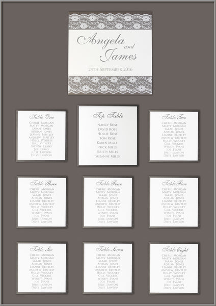 White Lace Pocketfold Rustic Chic Wedding Table Plan