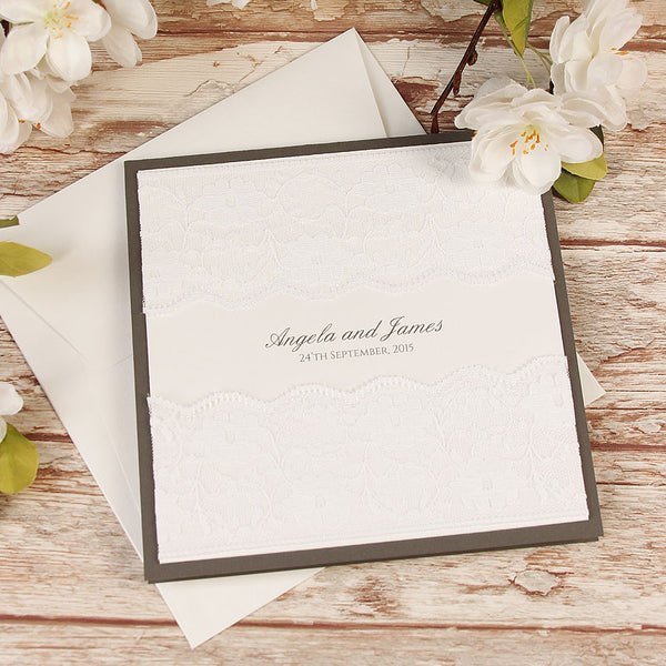 White Double Lace Pocketfold Rustic Chic Wedding Day Invitation + Rsvp Set