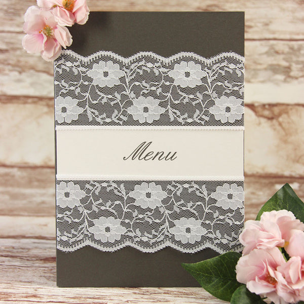 White Lace Pocketfold Rustic Chic Order of Service/ Menu