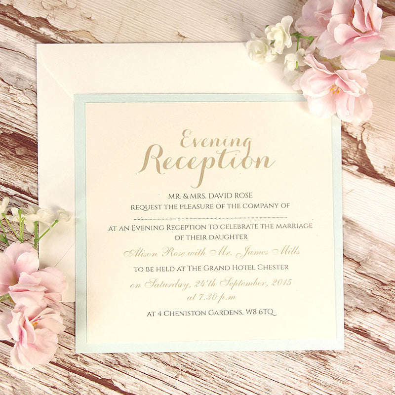 Blue Lace Pocketfold Rustic Evening Invitation