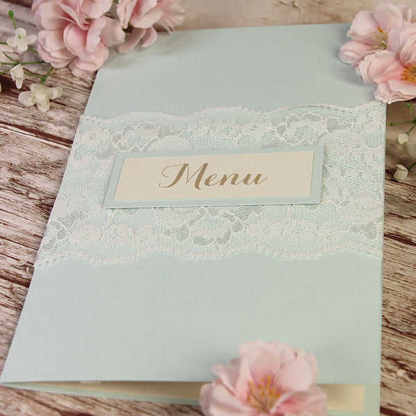 Blue Lace Pocketfold Rustic Order of Service / Menu