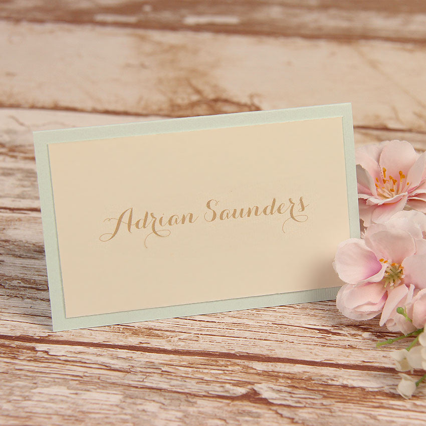 Blue Lace Pocketfold Rustic Place Card