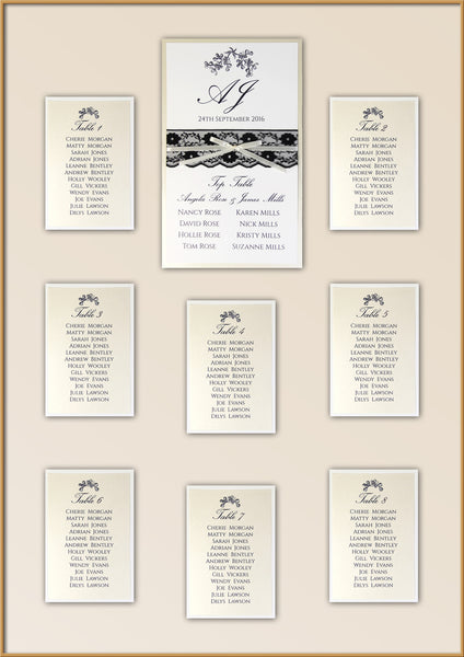 Black Lace Rustic Wedding Table Plan