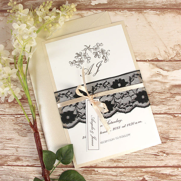 Black Lace Rustic Wedding Day Invitation
