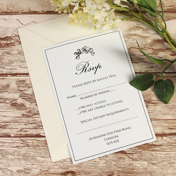 Black Lace Rustic RSVP Card