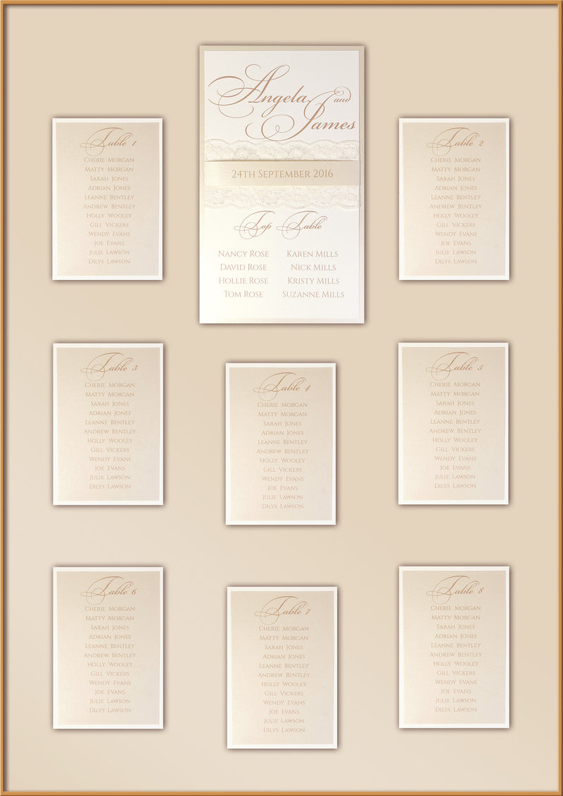 Peach Lace Rustic Wedding Table Plan