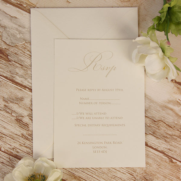 Peach Lace Rustic RSVP / Thank You / Save the Date Card