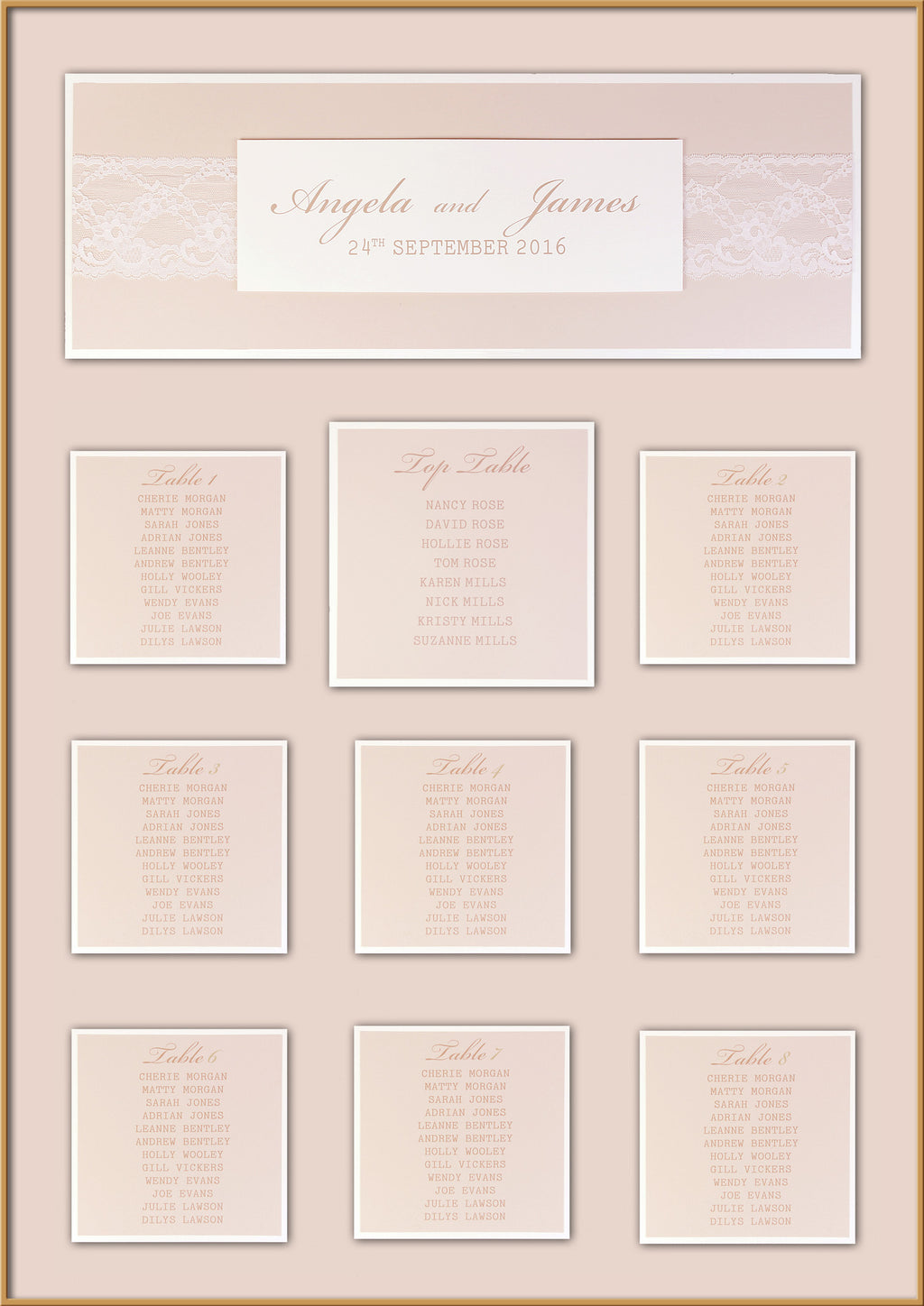 Delicate White Lace Bandeau Rustic Wedding Table Plan