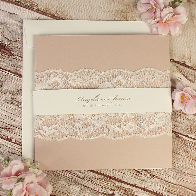Delicate White Lace Bandeau Rustic Day Invitation with Rsvp Card Folder