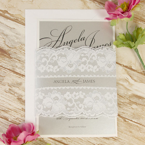 Silver Lace Day Wedding Invitation