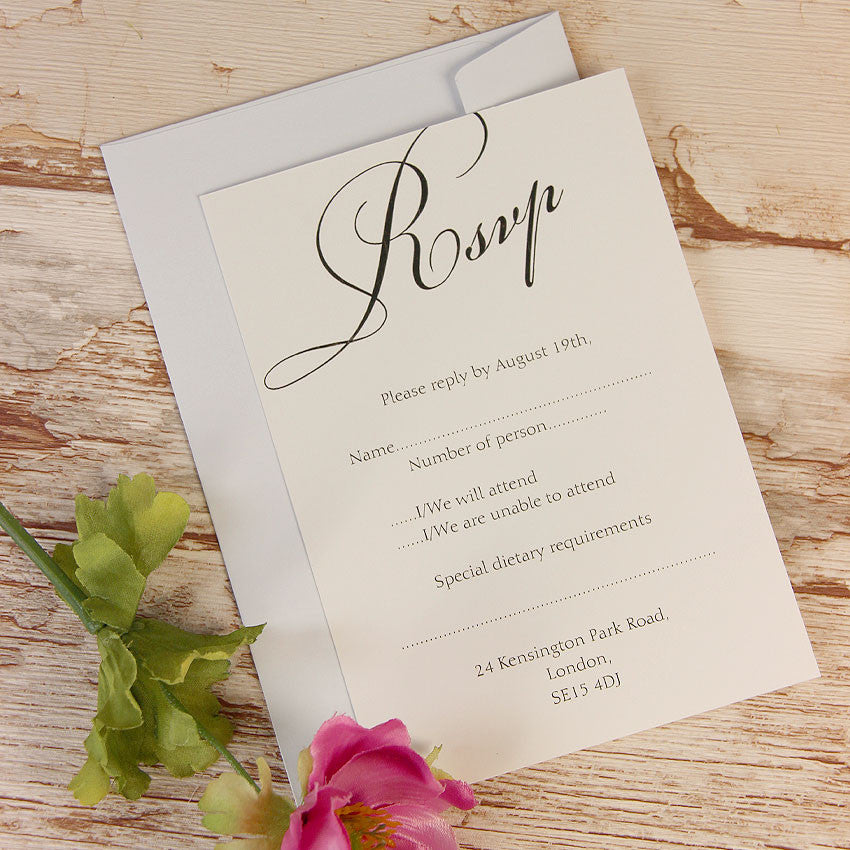 Silver Lace Wedding Reply Card, Rsvp