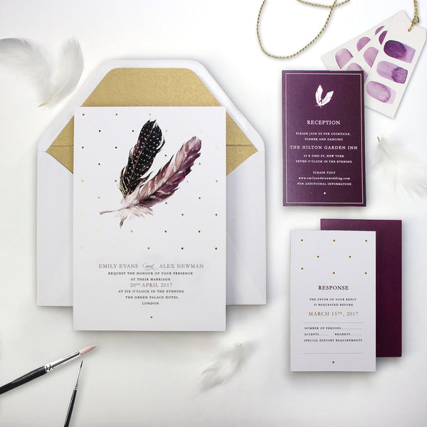 Boho Feather Watercolour Wedding Save the Date / Thank You / Reply Card