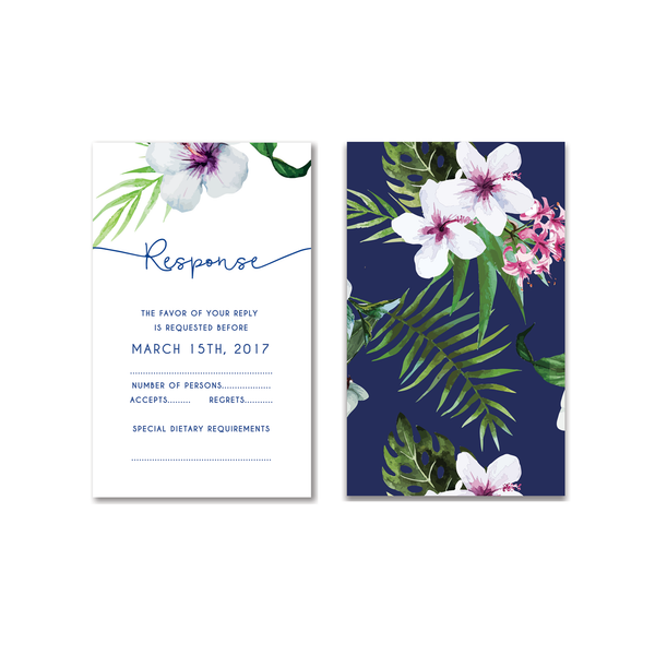 Tropical Botanical Watercolour Save the Date / Thank You / Reply Card