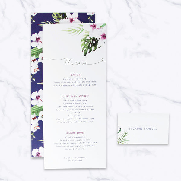 Tropical Botanical Watercolour Order of Service/Menu