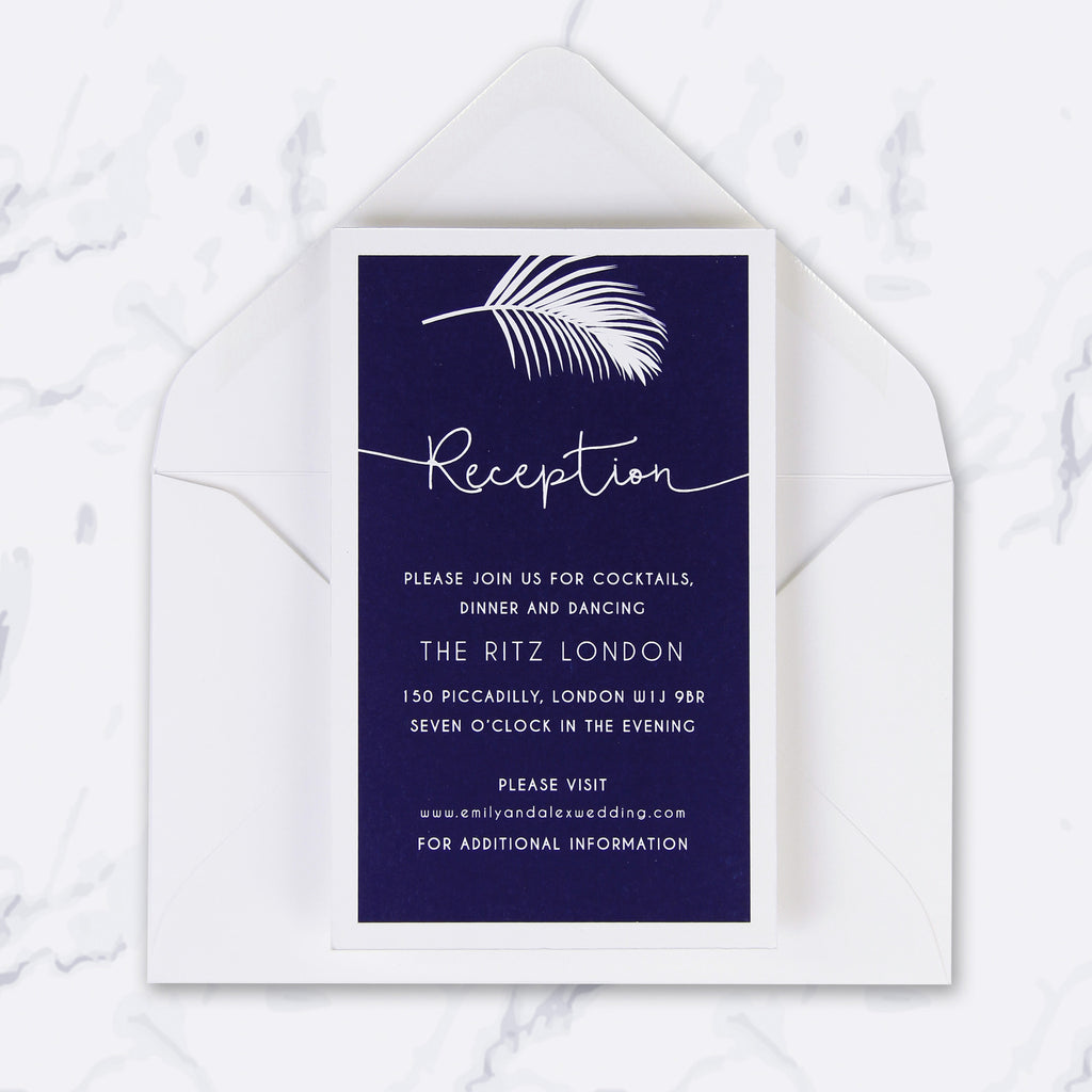 Tropical Botanical Watercolour Wedding Evening Invitation
