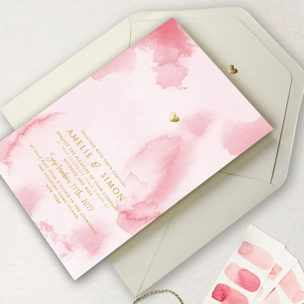 Gold Foil Heart Pink Watercolour Place Card