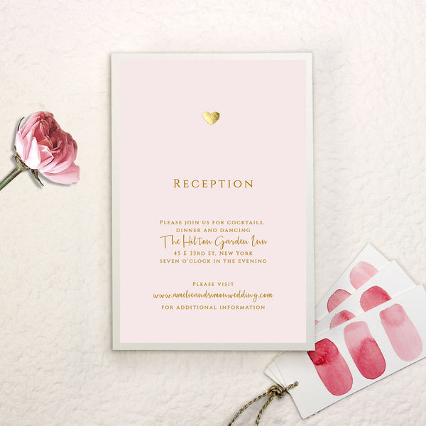Gold Foil Heart Pink Watercolour Wedding Day Invitation + Gold Heart Metallic Envelope Liner with Foil