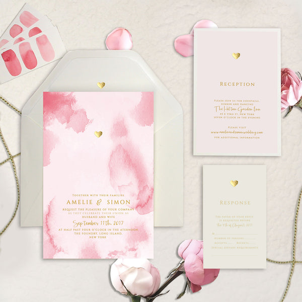 Gold Foil Heart Pink Watercolour Wedding Save the Date / Thank You / Reply Card