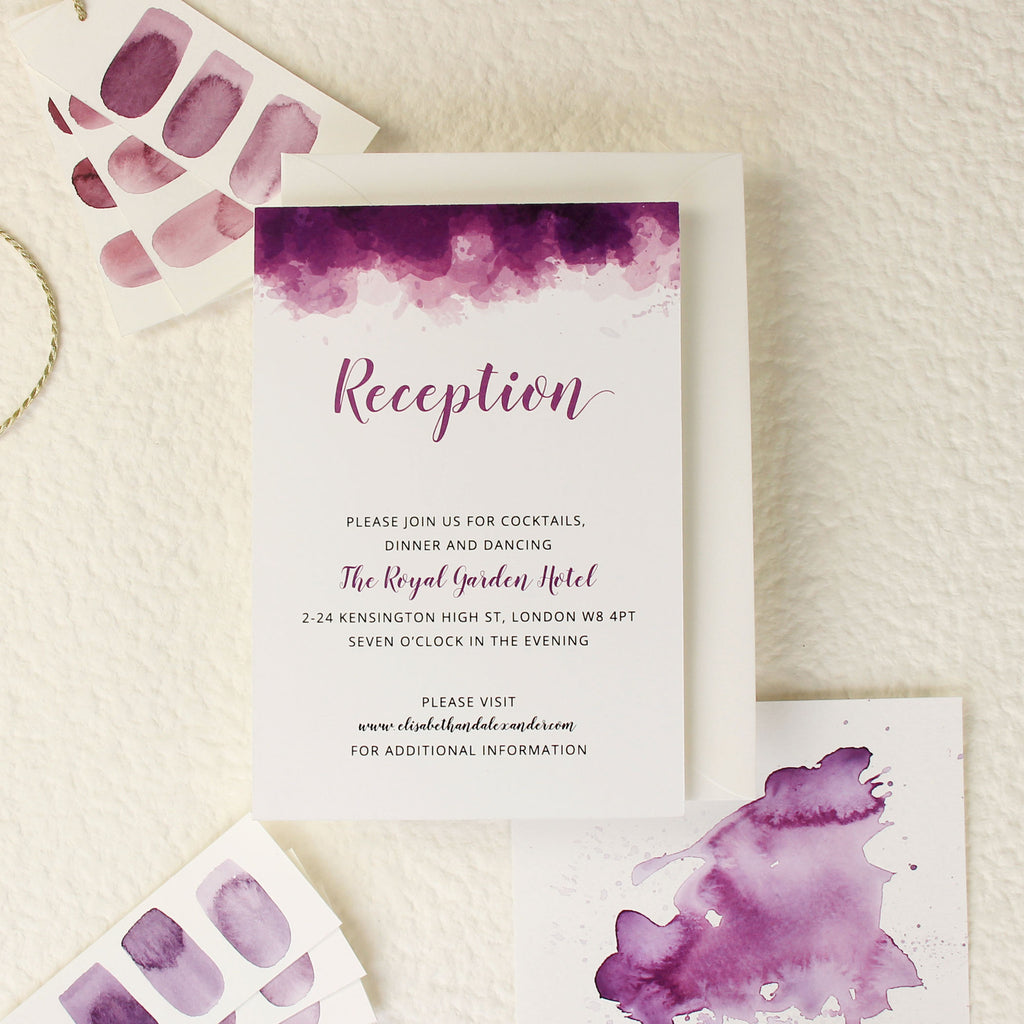 Purple Watercolour Wedding Evening Invitation