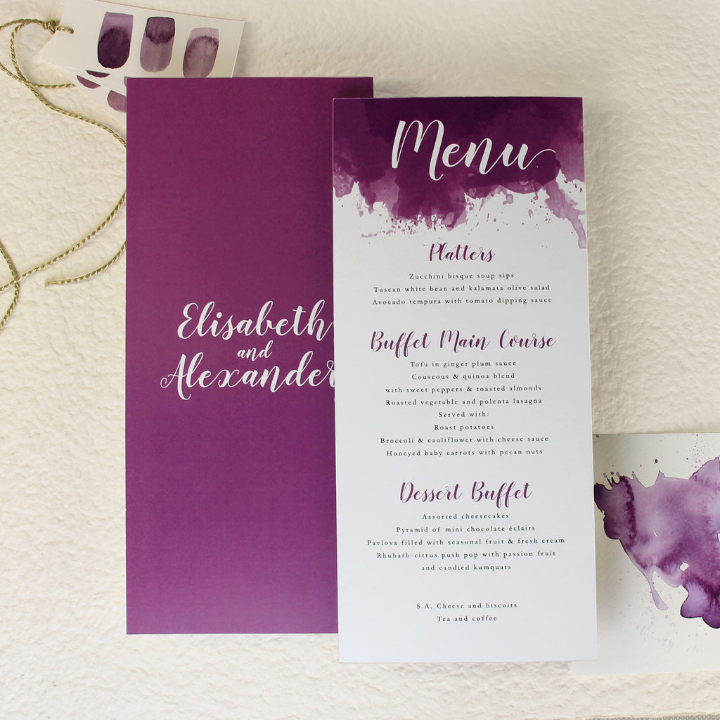 Purple Watercolour Order of Service/Menu