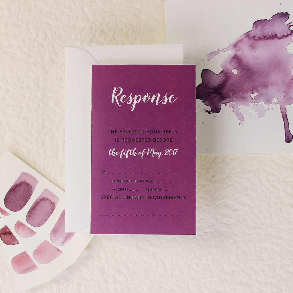 Purple Watercolour Wedding Reply Card, Rsvp